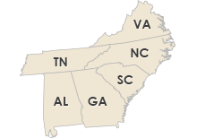 Virginia, Tennessee, North Carolina, South Carolina, Georgia & Alabama